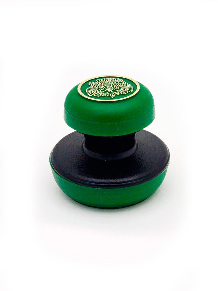 D40/42 мм ручка «Стандарт», тиснение. Оснастка для круглой печати, (чёрно-зелёная).