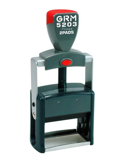 GRM 5203 HD металлическая оснастка для штампа 49х28 мм, 7 строк, 2 штемпельные подушки
