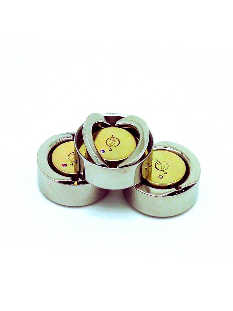OL-21 040 Тс оснастка металлическая «ТЕХНО-КРИСТАЛЛ» d 40 мм (Шампань), с подушкой, фианит, позолота.