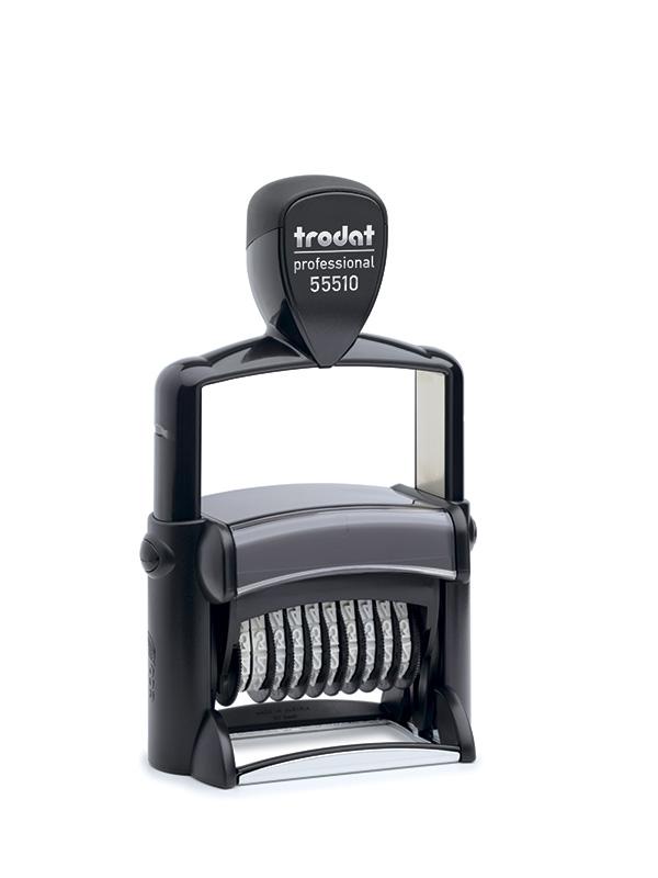 Trodat 55510/PL Нумератор металлический со свободным полем, 10 разрядов, 56х33 мм, высота шрифта 5 мм
