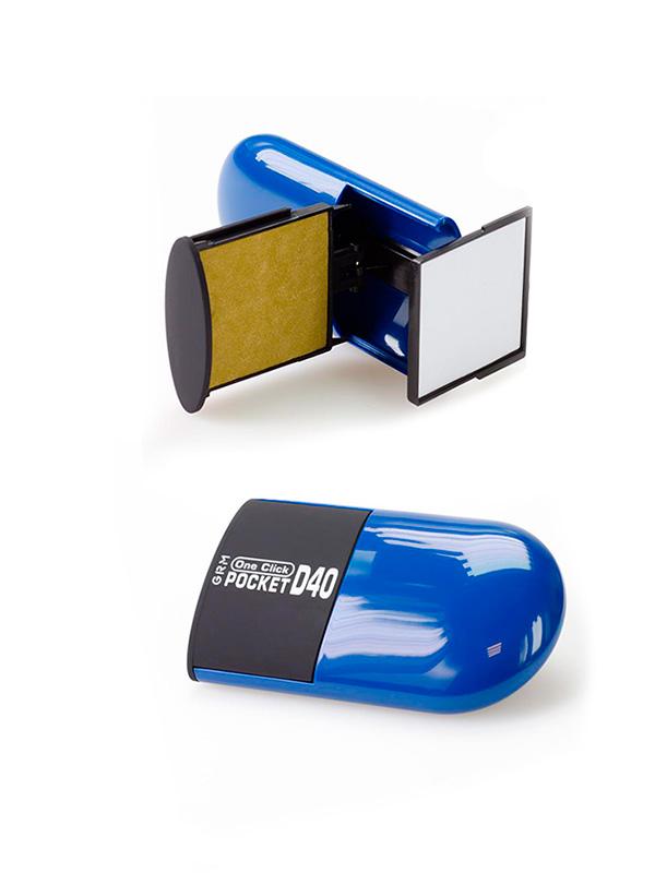 GRM Pocket R40 One Click 10 lines, оснастка карманная, 10 строк, 42х42 мм (синий).