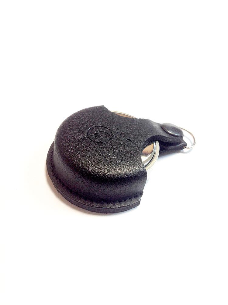 OL-21 040 Сс оснастка круглая металлическая d 40 мм «КОМПАКТ» (с подушкой) в кожаном чехле с кристаллом Svarovski (черный)