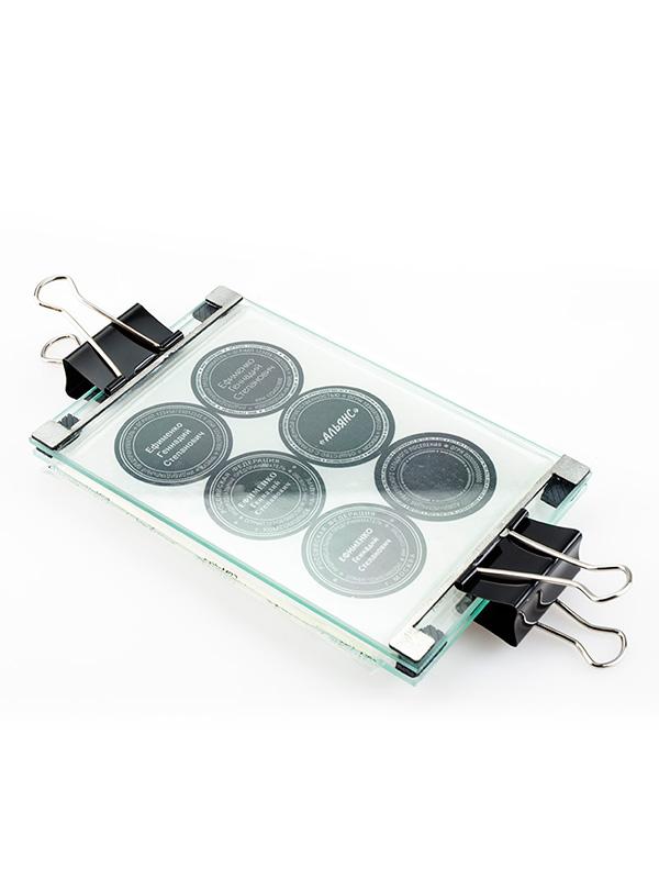 GRM Стеклянная рамка с ограничителями для засветки в экспокамере, формат А6.