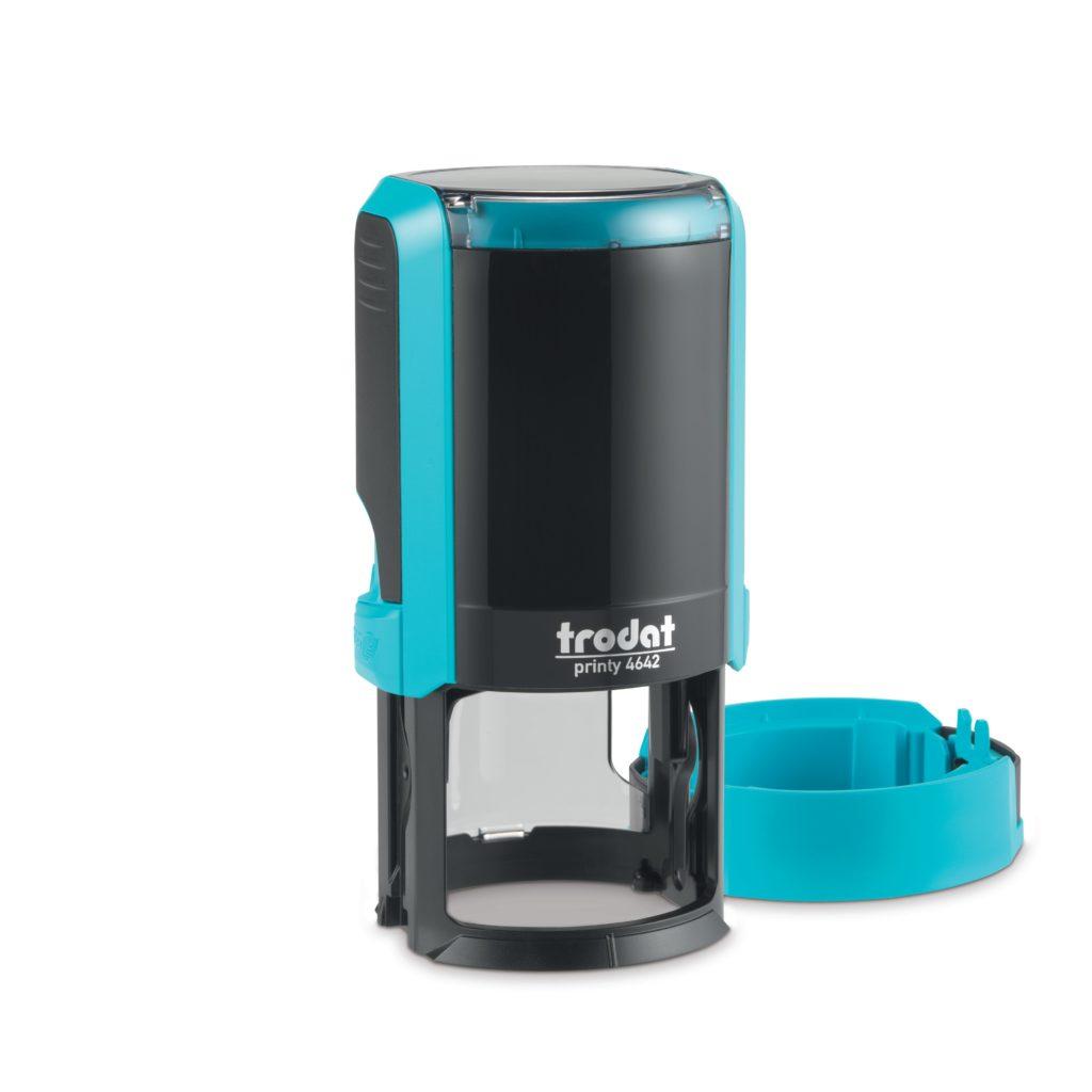 Trodat 4642 NEW автоматическая оснастка для печати d 42мм с защитной крышкой (голубая) (АКЦИЯ)